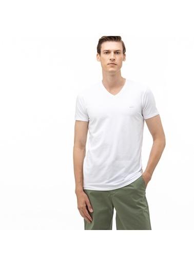 Lacoste Erkek V Yaka Tişört TH0999.99B Beyaz